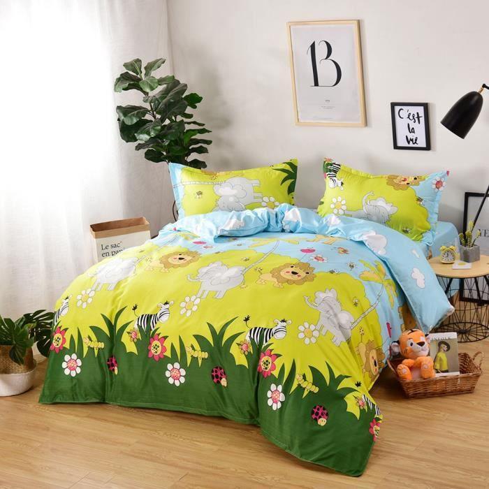 Animaux Enfants Linge De Lit Set 4 pièces blanc 100/% coton girafe Canard Jouets