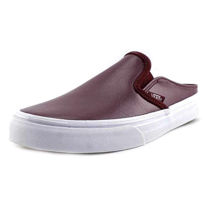 Vans Classic Slip-On Mule Cuir Mules Rouge - Cdiscount Chaussures