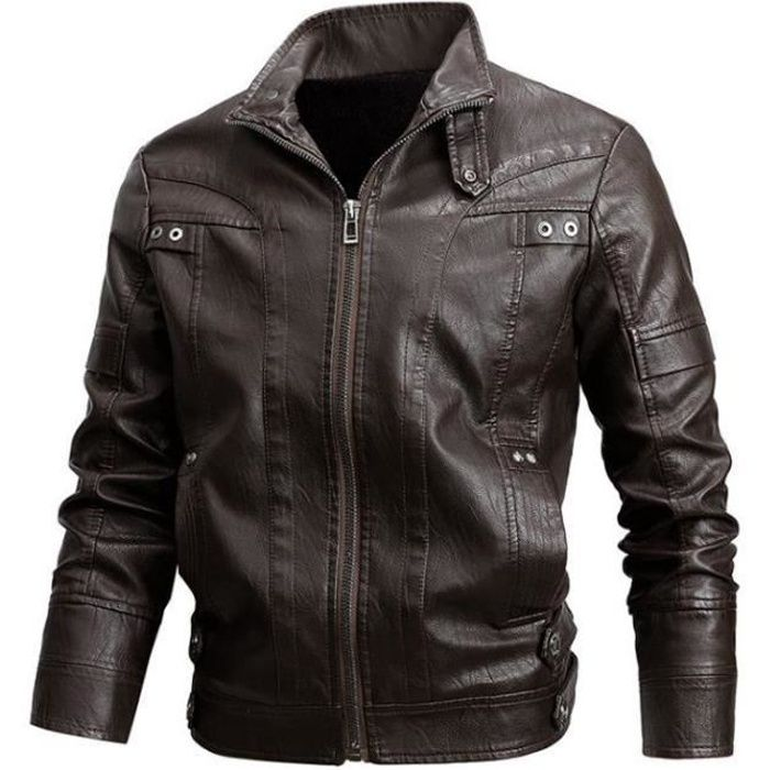 Hommes Casual Retro Zippé Design Noir lavé veste en cuir véritable