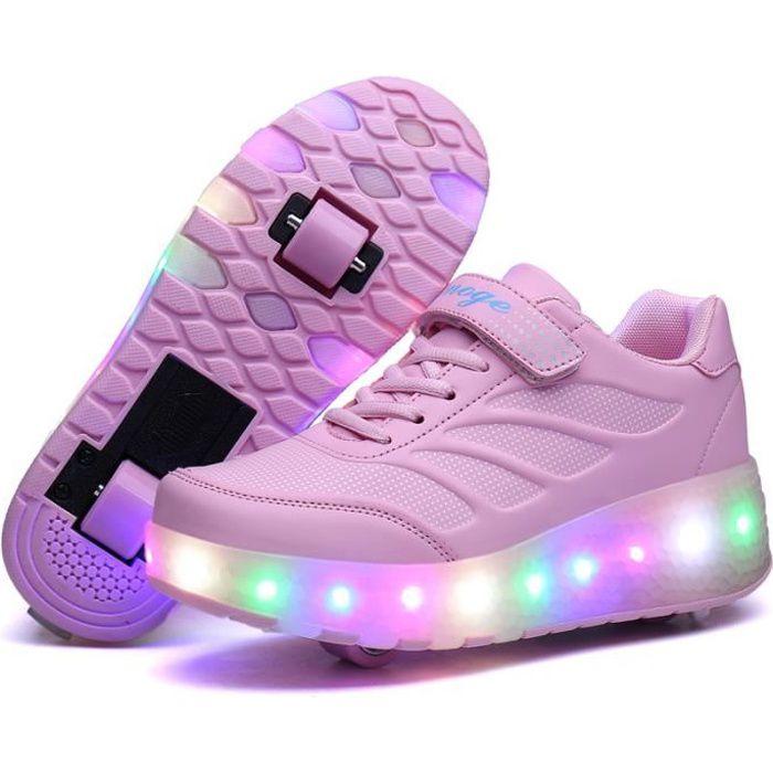 Baskets Enfants LED Chaussures Roller Lumineuse À Roulettes