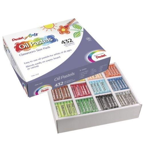 Pentel Large Arts Huile Pastel Stick-noir pack de 12