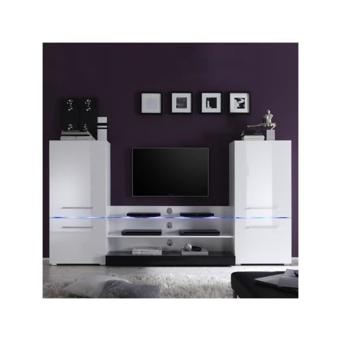 Ensemble meuble tv blanc laqu achat vente meuble tv for Ensemble meuble tv blanc