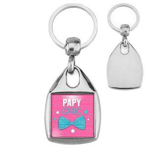 PORTE-CLÉS Porte-Clés Carré Acier Papy Chic - Nœud de Papillo