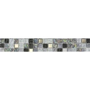 CARRELAGE - PAREMENT Listel en pate de verre et pierre naturelle - 5 x