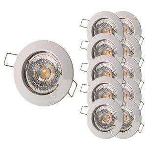 SPOTS - LIGNE DE SPOTS LOT DE 10 SPOT ENCASTRABLE FIXE LED 230V BLANC AVE