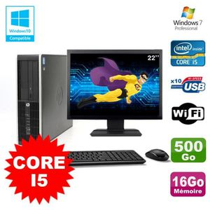 UNITÉ CENTRALE + ÉCRAN Lot PC HP Elite 8200 SFF Core I5 3.1GHz 16Go 500Go