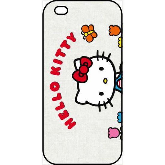 Coque apple iphone 5s hello kitty avec des fleurs