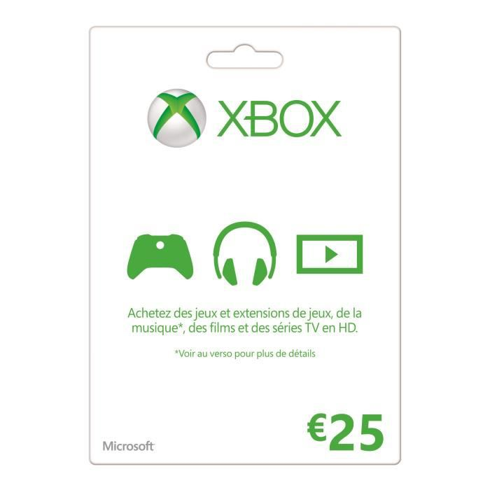 CARTE MULTIMEDIA Carte XBOX Live 25€