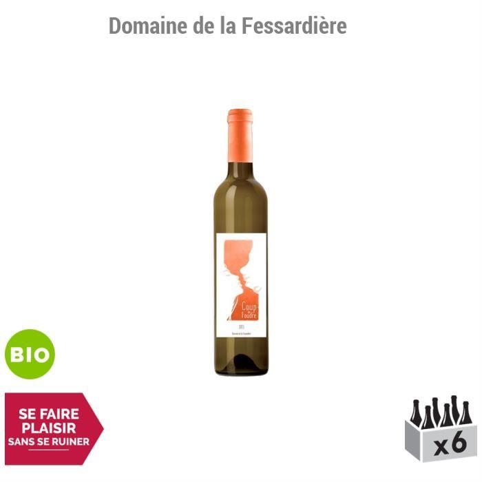 Muscadet Sèvre et Maine sur lies Coup de Foudre Blanc 2015 - Bio - Lot de 6x75cl - Domaine de la Fessardière - Vin AOC Blanc du Val