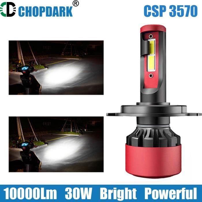 Phare LED de moto H1 H3 H4 H7 H11 HS1 D1C D1S D2R D2S, 1 ampoule pour faisceau haut et bas, puces CSP 3570 g-xp 12V 30 H3 -FJFK670