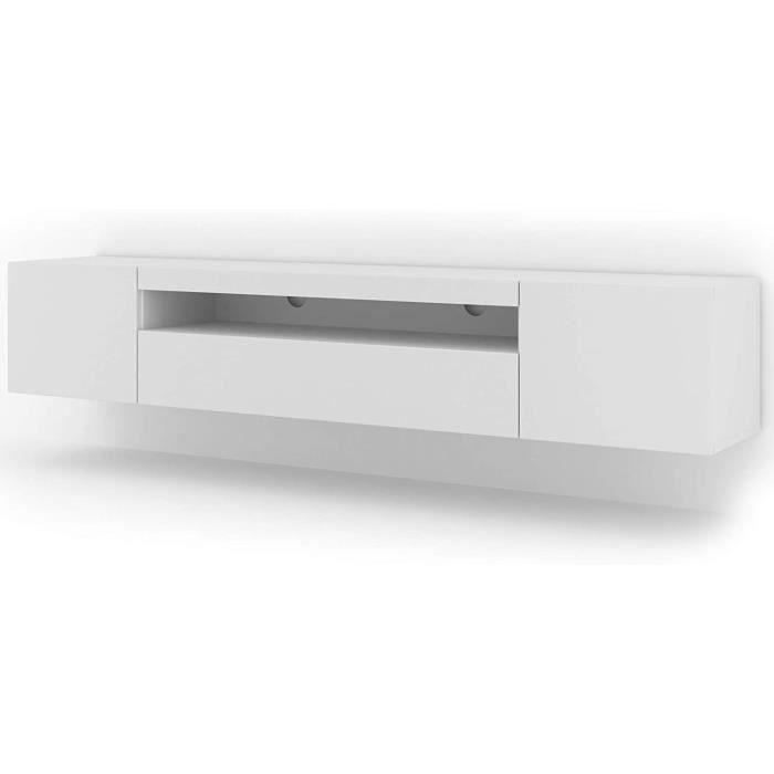 Meuble TV bas universel Aura 200 cm à suspendre ou à poser blanc mat sans LED