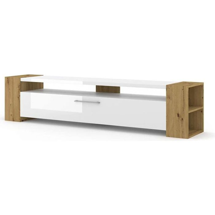 Livia Meuble TV bas en Chêne Artisan Brillant Blanc 200 cm salon Hi-Fi Commode Table