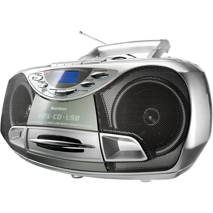 Karcher RR 510N Portable Radio CD Stéréo (Lecteur CD / MP3, Radio FM, Cassette, Lecture MP3, 100 Watt (PMPO), USB 2.0).