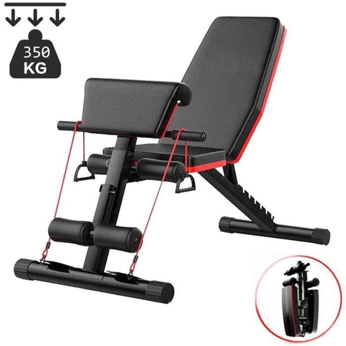 BANC DE MUSCULATION Lourds Banc d'exercice Banc De Musculation Complet avec Poids Pliable 4 en 1 pour Entra&icircNement &agrave149