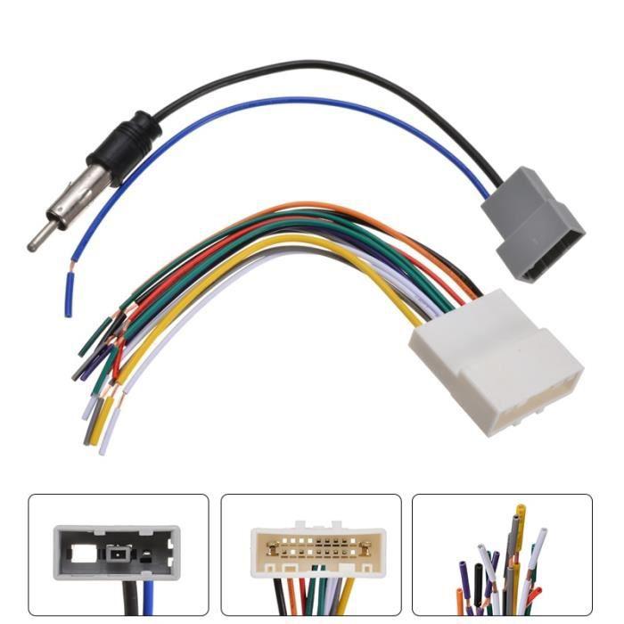 Pièces Auto,Adaptateur d'antenne pour Nissan 2009 2013 Pour voiture, DVD, installation d'autoradio, câblage Audio stéréo, fiches de