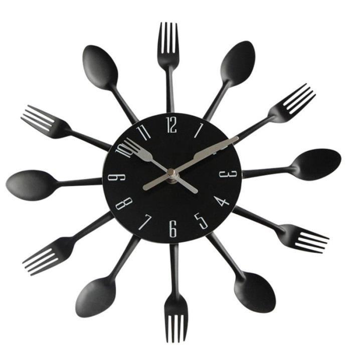 Horloge,Horloge murale décor Design moderne argent couverts ustensile de cuisine horloge murale cuillère fourchette - Type Black
