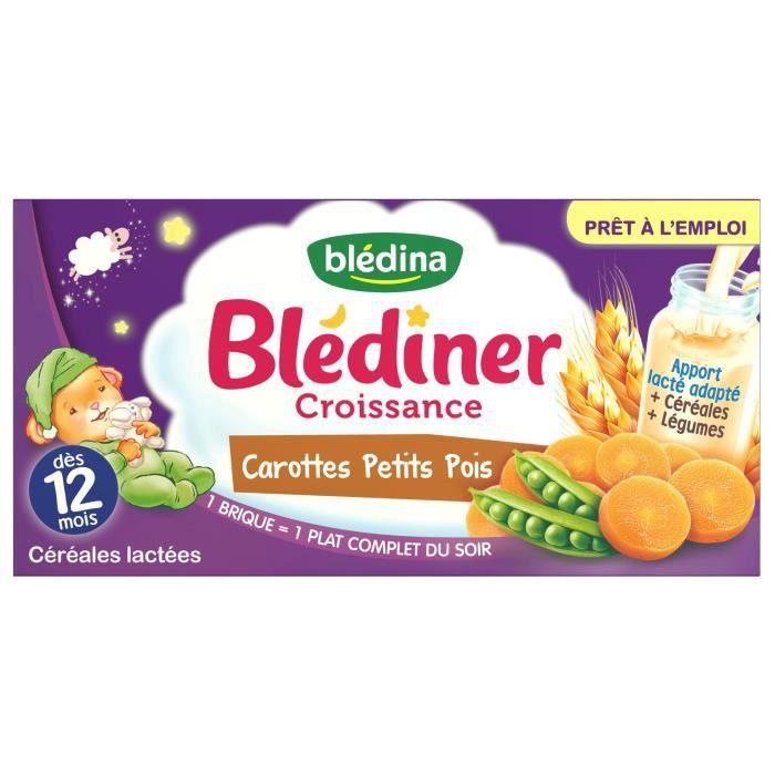 BLEDINA Blédîner Croissance Carottes Petits Pois - 2x250 ml - Dès 12 moi