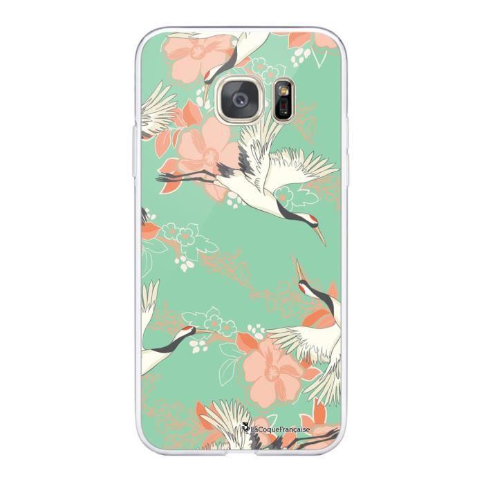 Coque Samsung Galaxy S7 360 intégrale transparente Grues fleuries Ecriture Tendance Design La Coque Francaise