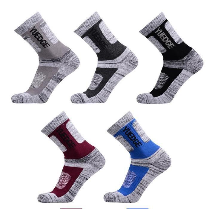 Lot de 5 Paires Chaussettes Homme Sports Randonnée Alpinisme Chaussettes en Coton Respirantes Anti-dérapantes 39/44