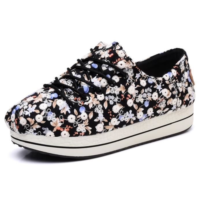 Sandale De Randonnee YLPIB Women's Floral Canvas Elastic Platform Shoes Lace-up Low Top Sneakers Taille-37 1-2