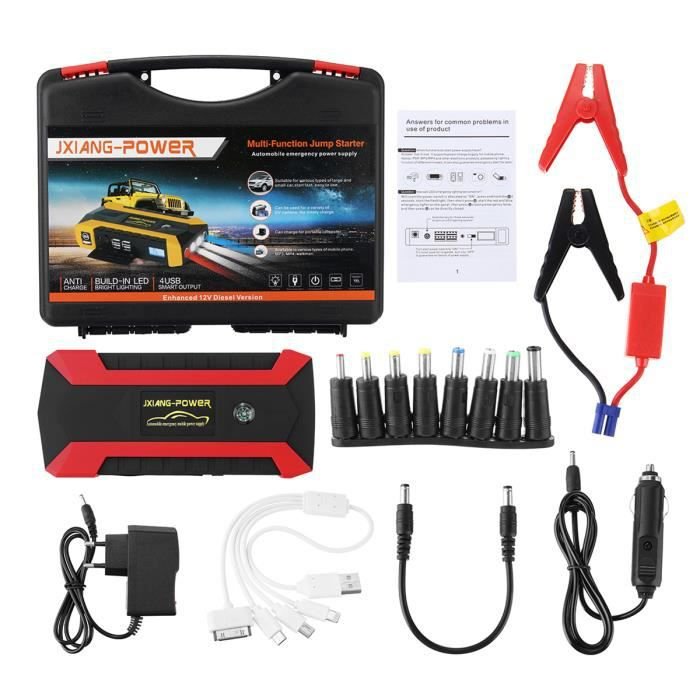 NEUFU Voiture Chargeur Batterie 89800 mAh Booster Car Jump Starter Pack 12V 4 USB Eu Plug