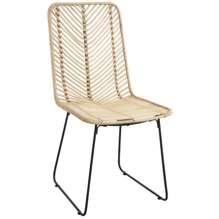 Chaise en rotin et métal noir - Dim : 46 x 58 x 90 x H 44 cm