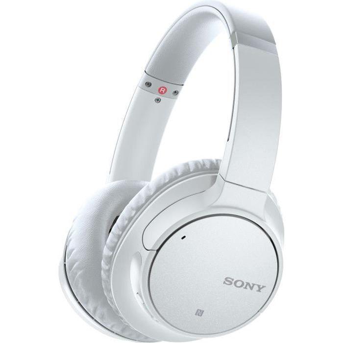 SONY WH-CH700NW - Casque arceau Bluetooth à réduction de bruit - 35 heures d'autonomie - 94dB/mW - Blanc