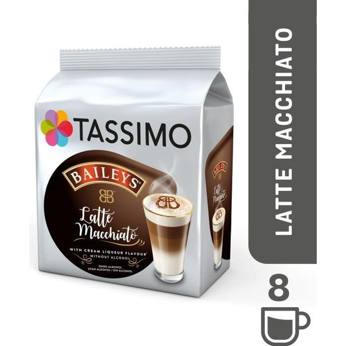 TASSIMO Baileys Latte Macchiato, Dosette de café, Latte macchiato, 8 tasses, Baileys