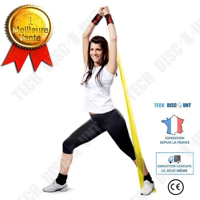 TD® Bande Élastique de Résistance- Fitness Équipement d'Exercices pour Fitness, Yoga, Entrainement Crossfit, Musculation Jaune