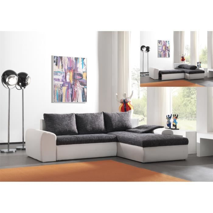 canap d 39 angle gris et blanc convertible modulable avec. Black Bedroom Furniture Sets. Home Design Ideas