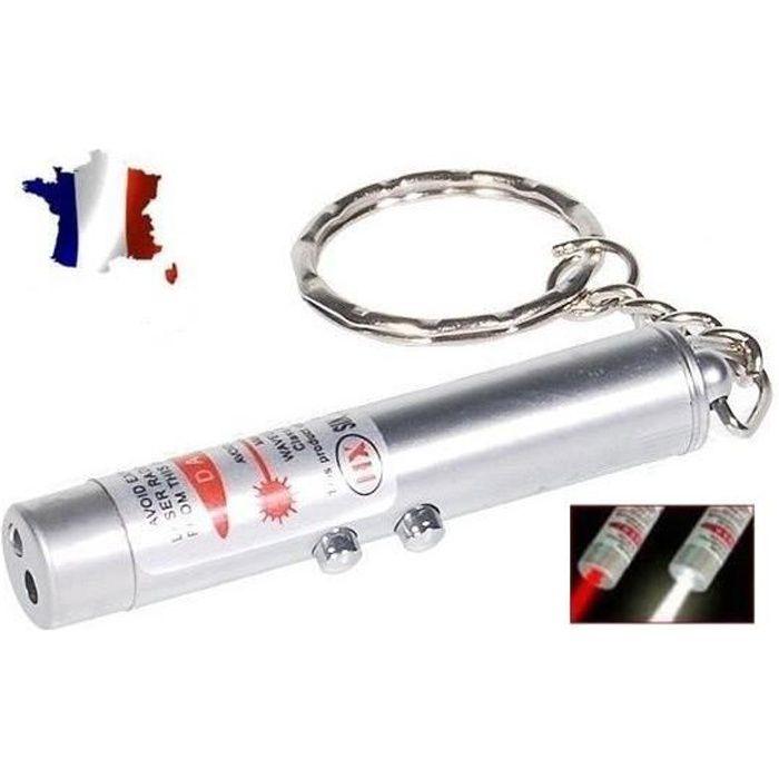 3 dans 1 Mini Pointeur Laser LED Torche Lampe de Poche Porte-Clé UV