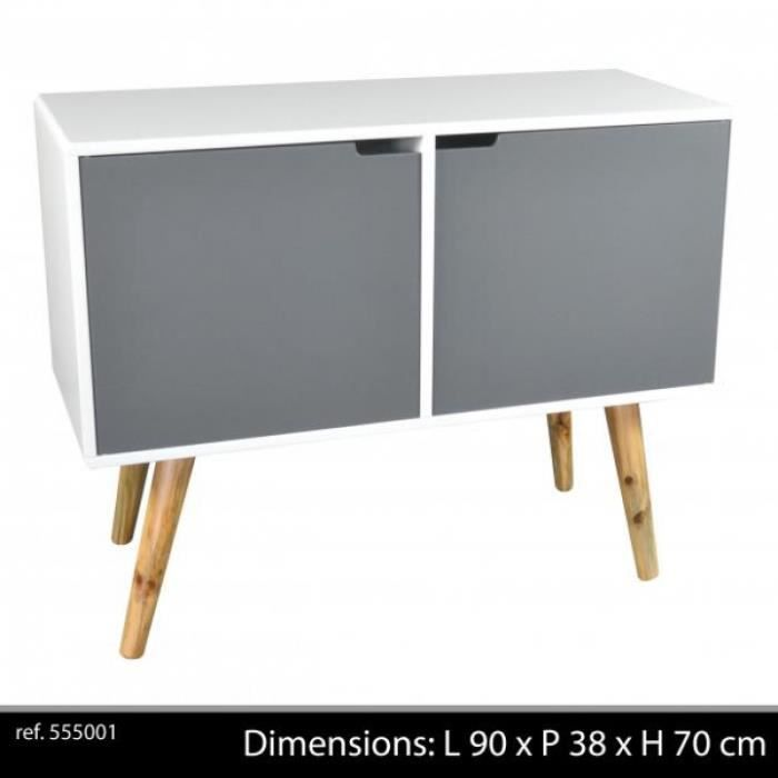 meuble tv vintage 2 portes 1 niche bambou l 9 achat. Black Bedroom Furniture Sets. Home Design Ideas