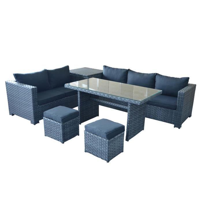 Salon de jardin 7 places : canapé d\'angle + 2 poufs + table ...