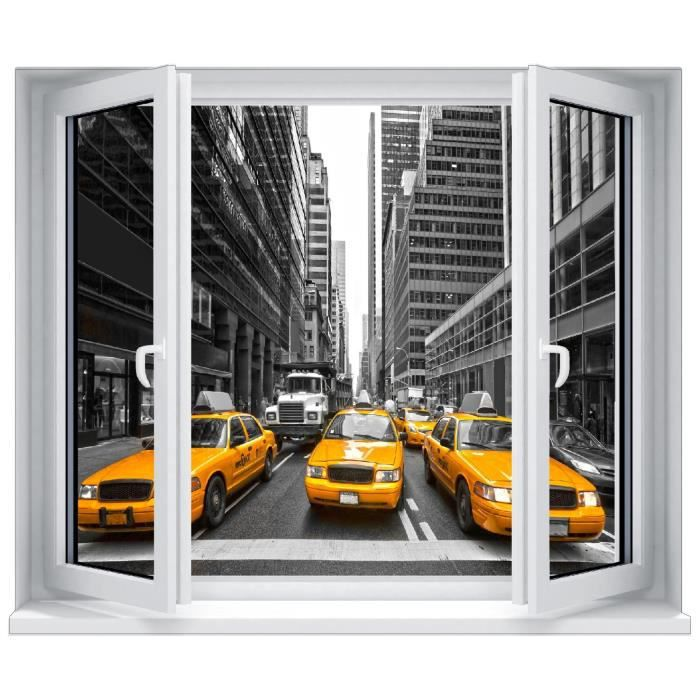 Sticker trompe l 39 oeil fen tre new york taxi jaune for Stickers fenetre new york