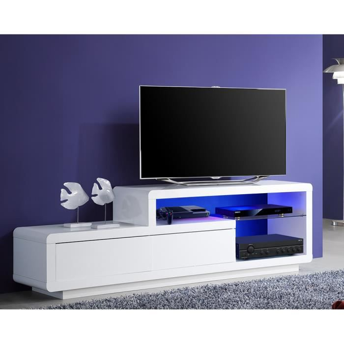meuble tv de rangement lumineux 2 tiroirs achat. Black Bedroom Furniture Sets. Home Design Ideas