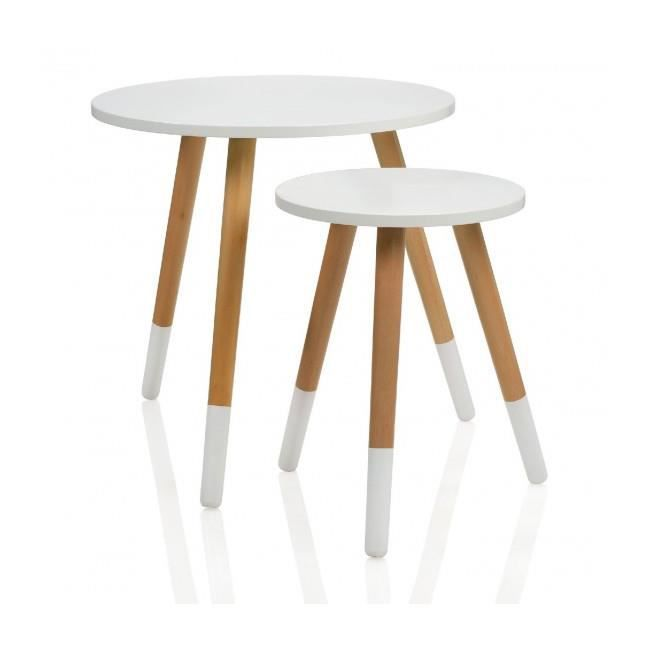 Set de 2 tables rondes en bois bicolore bois et blanc for Set de table en bois