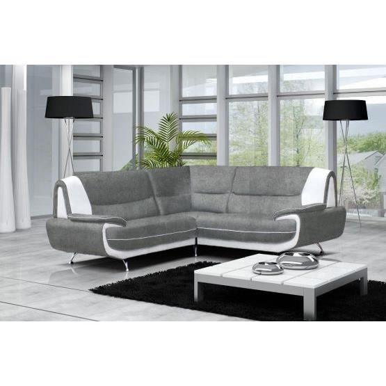 canap angle maya microfibre gris et blanc achat vente canap sofa divan cdiscount. Black Bedroom Furniture Sets. Home Design Ideas