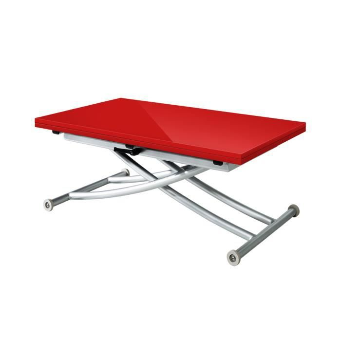 Table basse relevable extensible first rouge laqu achat for Table basse rouge laque