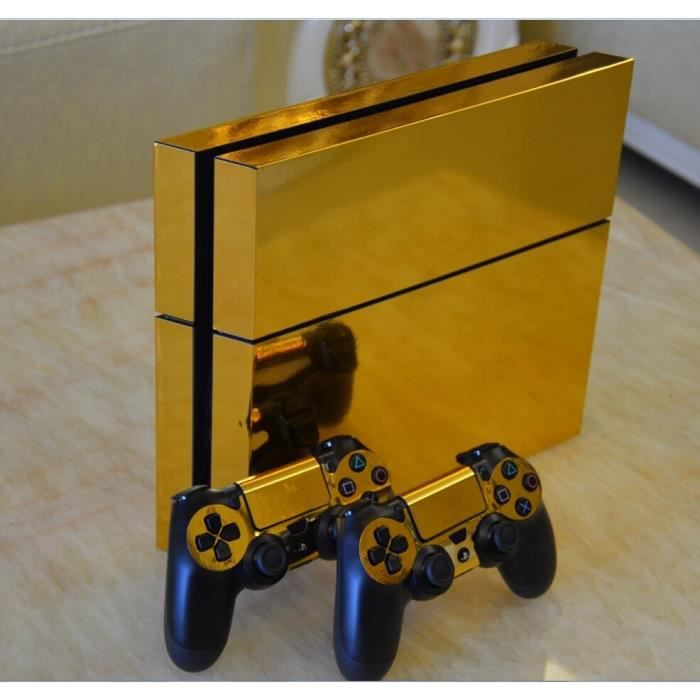sticker de protection pour playstation 4 ps4 console 2 manettes gold glossy decal skin prix. Black Bedroom Furniture Sets. Home Design Ideas