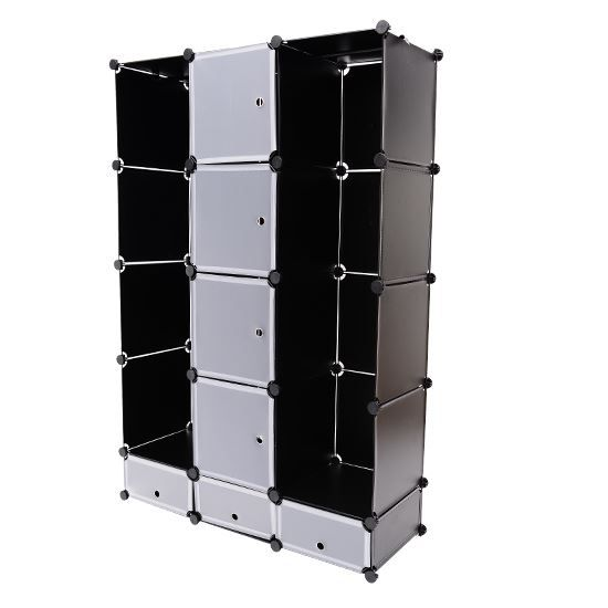 armoire plastique tag re penderie 165x110x37cm achat. Black Bedroom Furniture Sets. Home Design Ideas