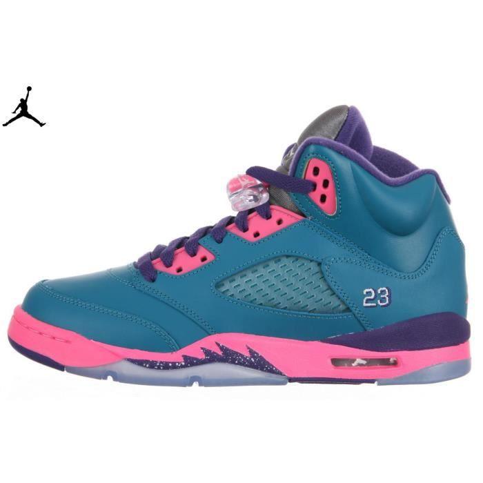GIRLS Nike Air Jordan 5 V Retro GS Tropical vert / Rose bleu ...