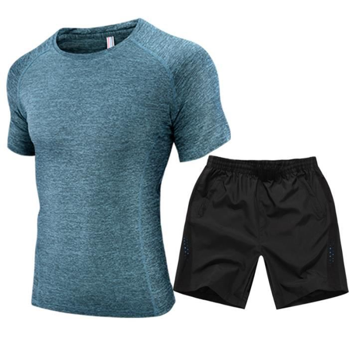 v tement de sport homme 2 pi ces ensemble grande taille pour jogging fitness top t shirt. Black Bedroom Furniture Sets. Home Design Ideas