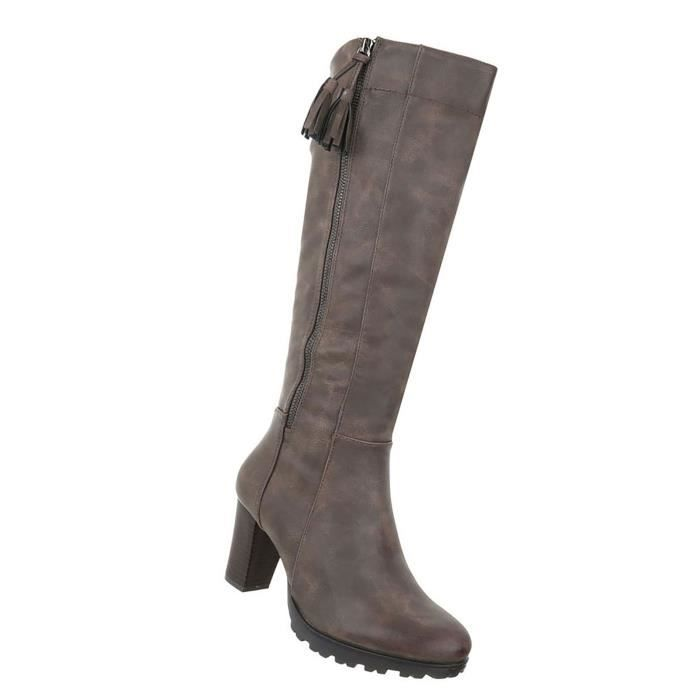 Chaussures femmes bottes Used optique Beige 41
