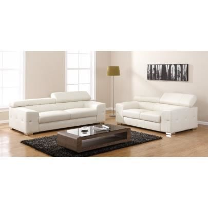 canap 3 2 places en cuir emilio blanc achat vente canap sofa divan cdiscount. Black Bedroom Furniture Sets. Home Design Ideas