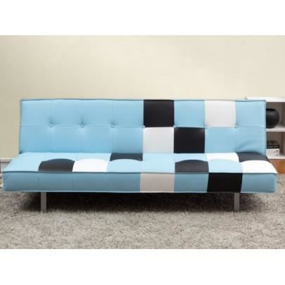 canap clic clac harper en simili bleu ciel achat vente clic clac cdiscount. Black Bedroom Furniture Sets. Home Design Ideas