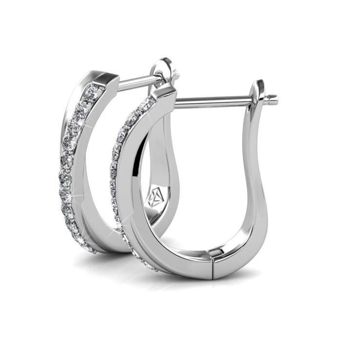 Womens Crossover Criss Cross Hoop Earrings Enriched With Swarovski Crystals E47BB