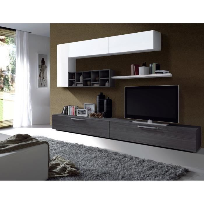 Deco meuble tv contemporain gris cendr et laqu blanc l for Deco salon contemporain gris