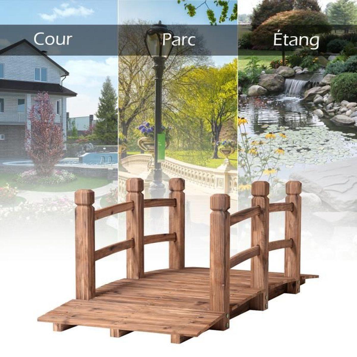 Décoration De Terrasse Extérieure pont de jardin en bois 150 x 67 x 55cm pont d'etang pont de