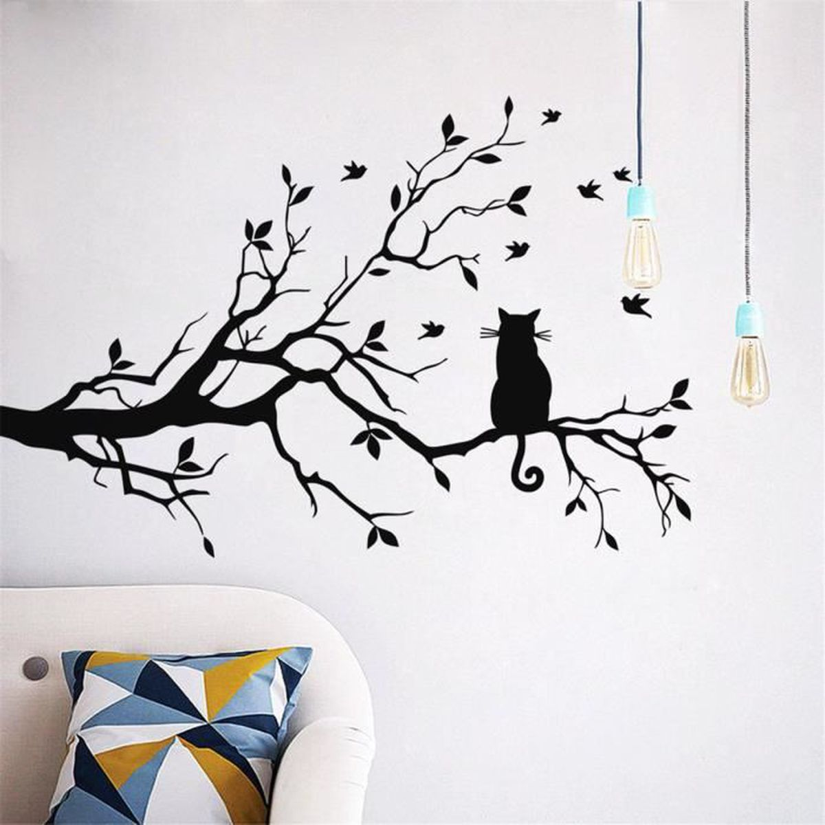 getek arbre sticker mural et noir mur de chat maison autocollant d coration murale autocollant. Black Bedroom Furniture Sets. Home Design Ideas