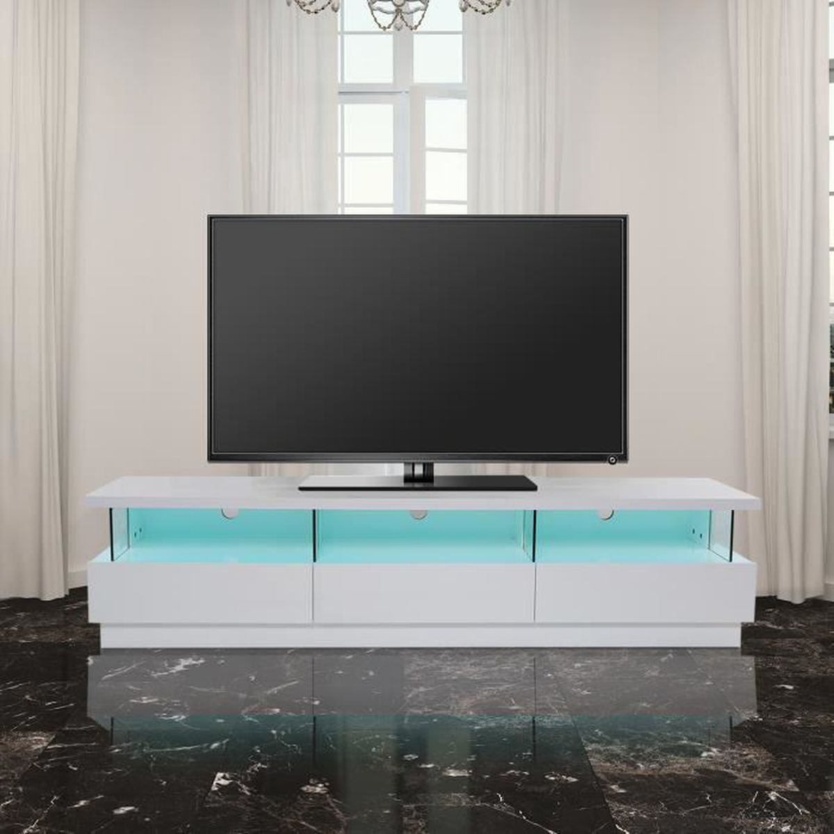 meuble tv bas design contemporain multi rangements verre. Black Bedroom Furniture Sets. Home Design Ideas